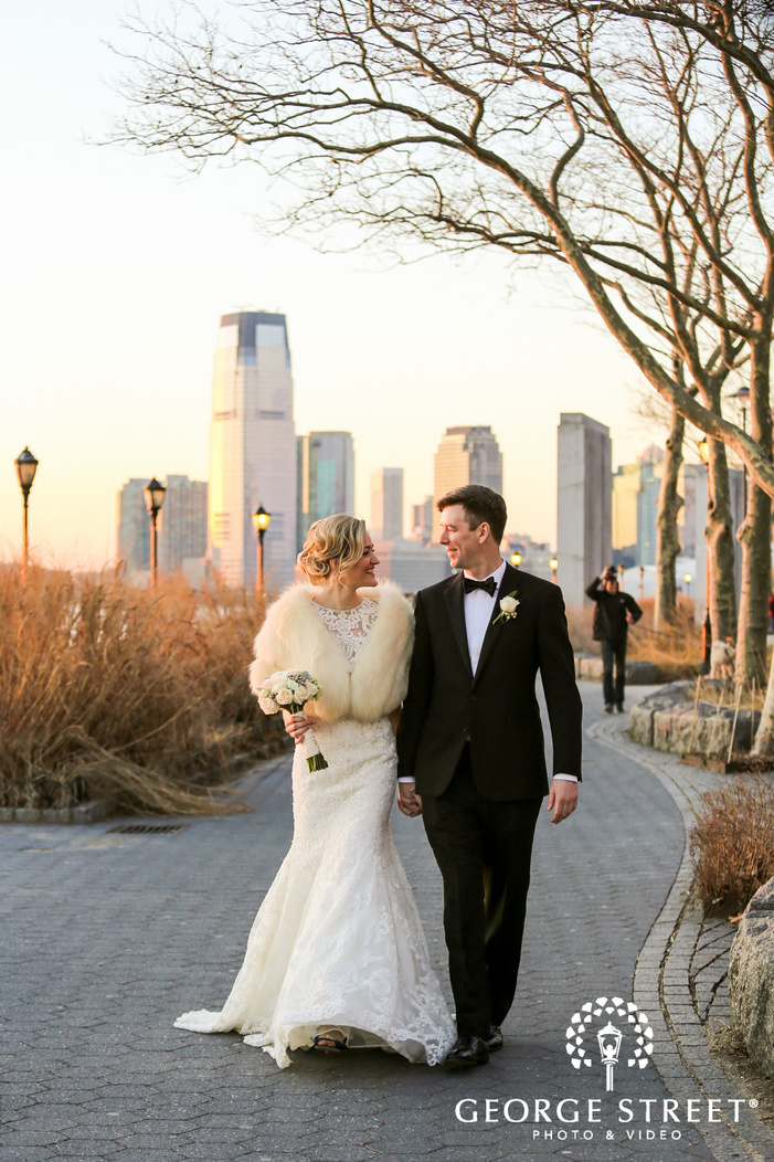 bride and groom golden hour portraits at battery gardens