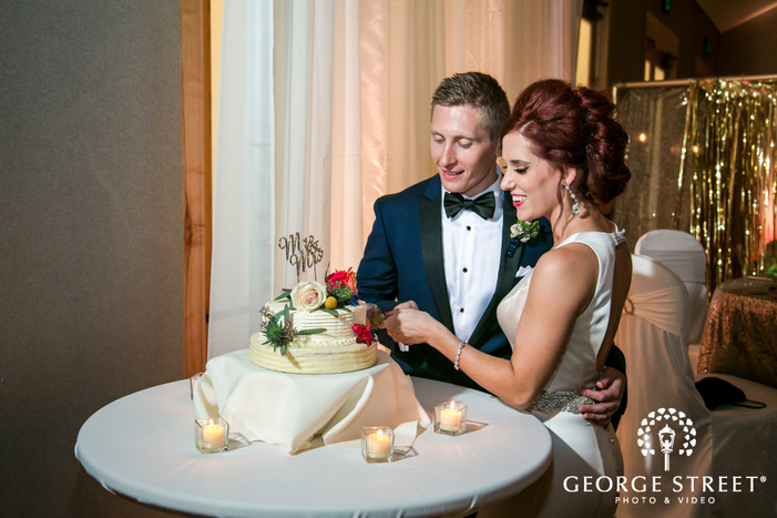 gorgeous couple cake cutting wedding photo