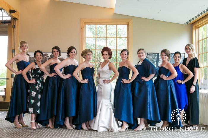 happy bridesmaids in lounge wedding photos