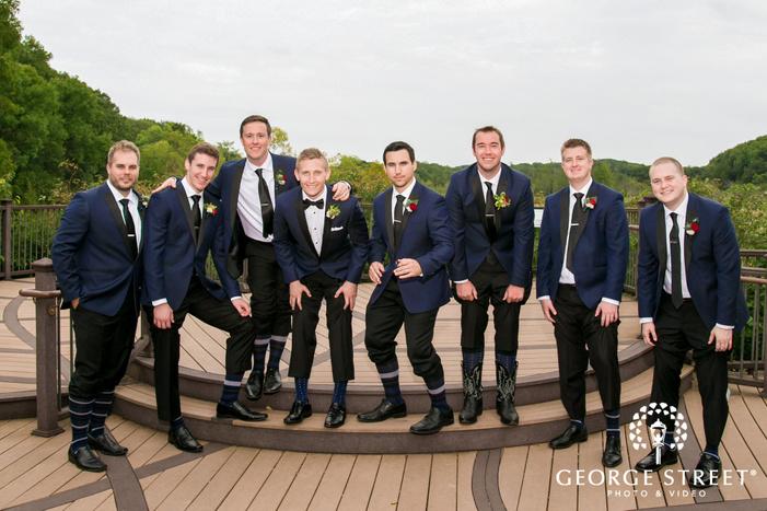 joyous groomsmen at hazeltine national golf club