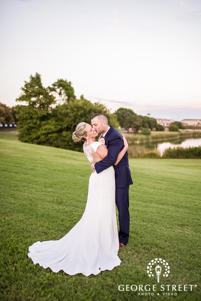 intimate couple in lawn wedding photos