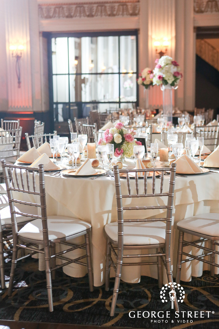 ballroom at the ben indoor wedding reception philadelphia wedding table decor