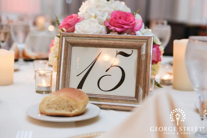 ballroom at the ben indoor wedding reception philadelphia wedding table number decor inspiration