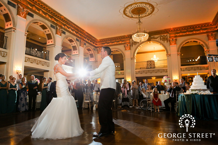 ballroom at the ben philadelphia indoor wedding reception bride and groom first dance