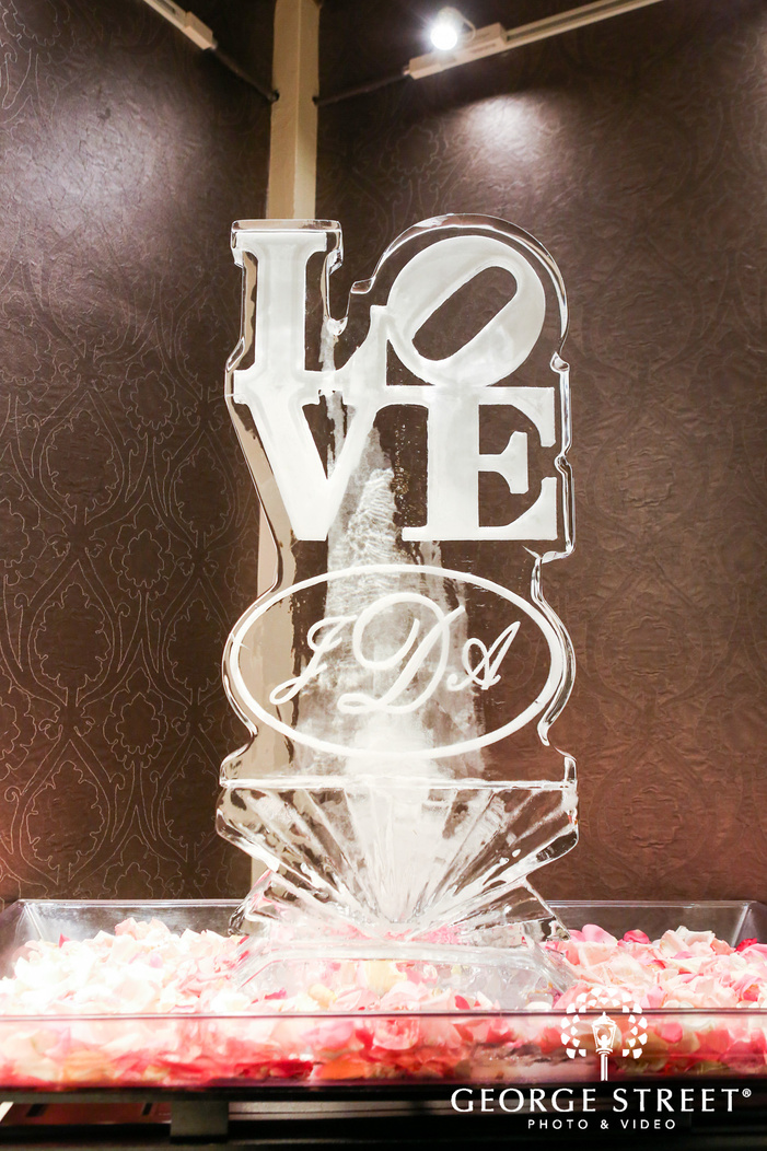 ballroom at the ben philadelphia indoor wedding reception love park ice sculpture
