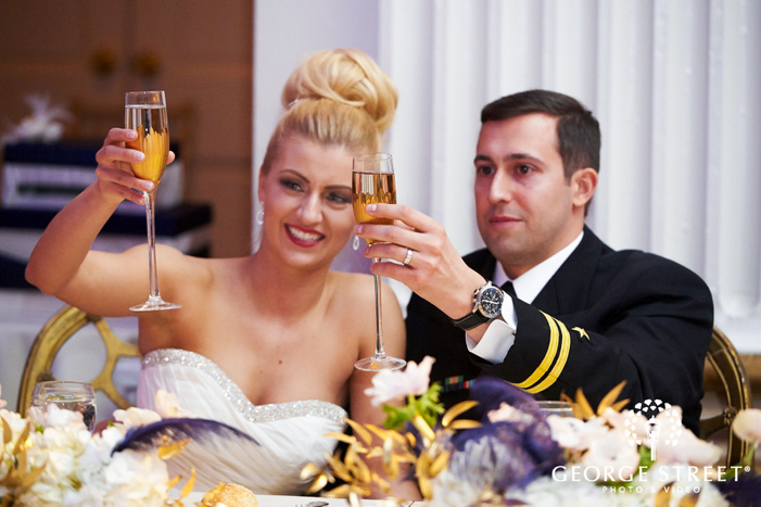 bride and groom champagne toast