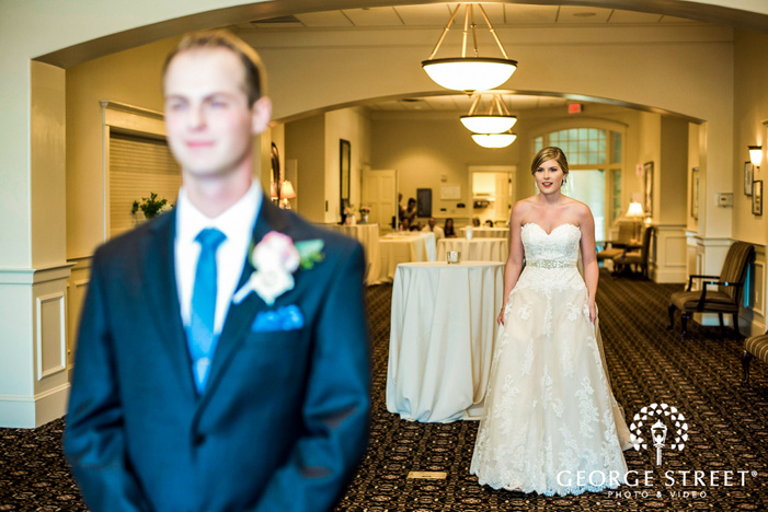excited bride and groom first sight golden valley country club minneapolis wedding photos