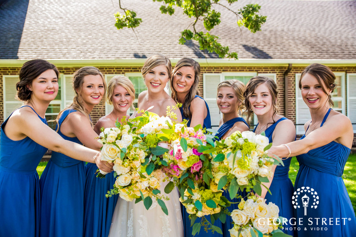 mery bridesmaids in front lawn of golden valley country club minneapolis wedding photos