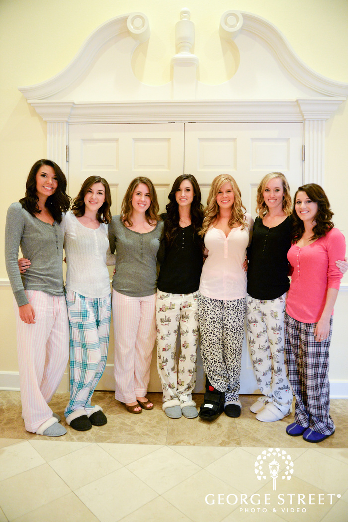 bride and bridesmaids in pajamas