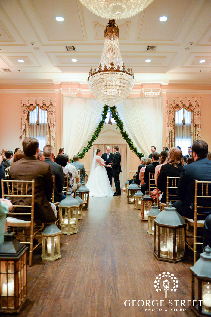 bride and groom indoor wedding ceremony