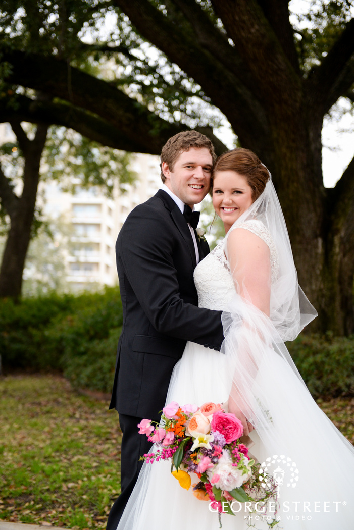 candid bride and groom outdoor portrait