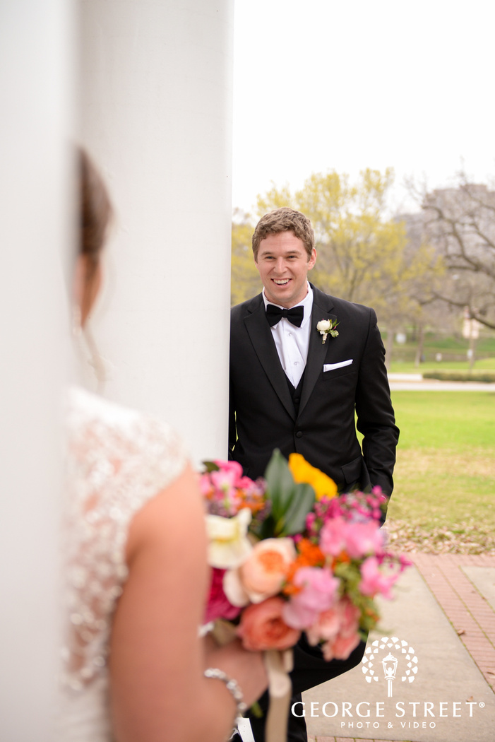 classic bride and groom first look