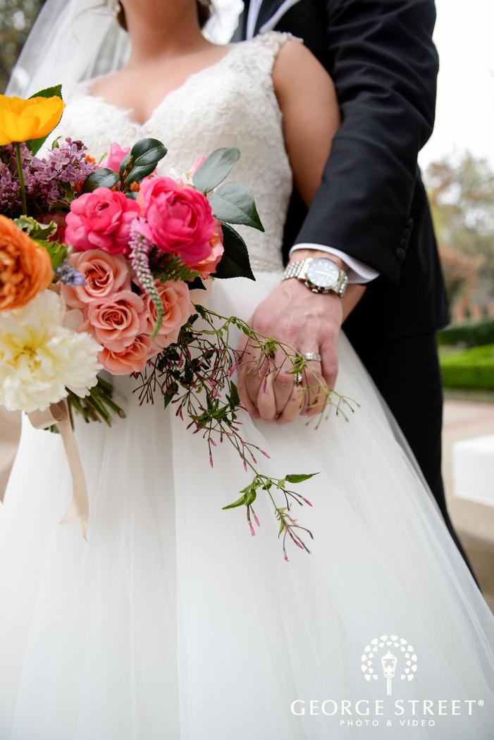 colorful bridal bouquet detail