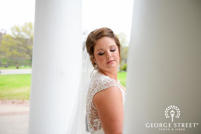 elegant bridal portrait by classic pillars