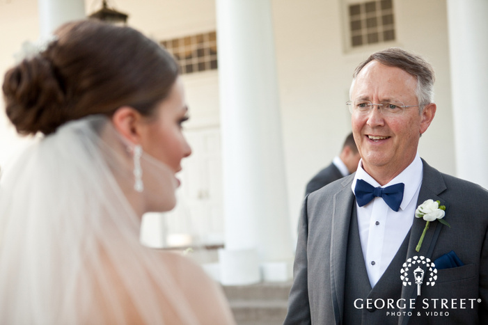 father first look wedding portraits