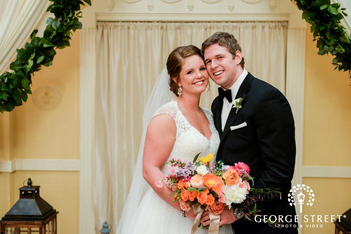 smiling bride and groom wedding portrait