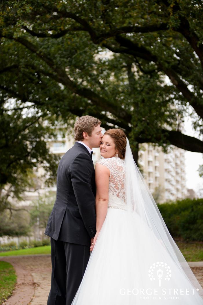 sweet bride and groom outdoor portrait