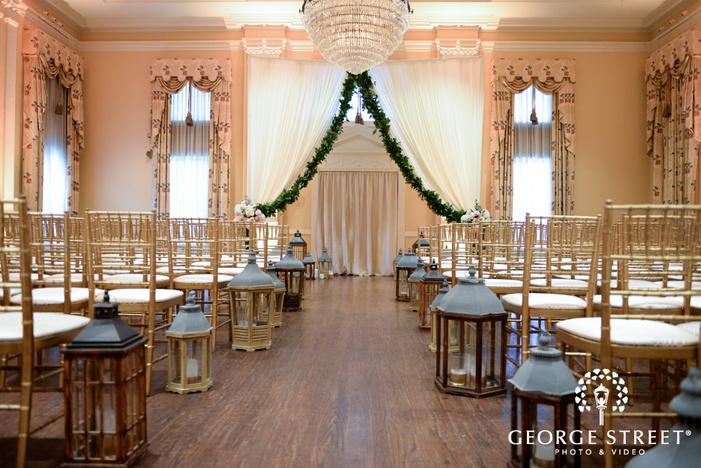 wedding ceremony at arlington hall at lee park