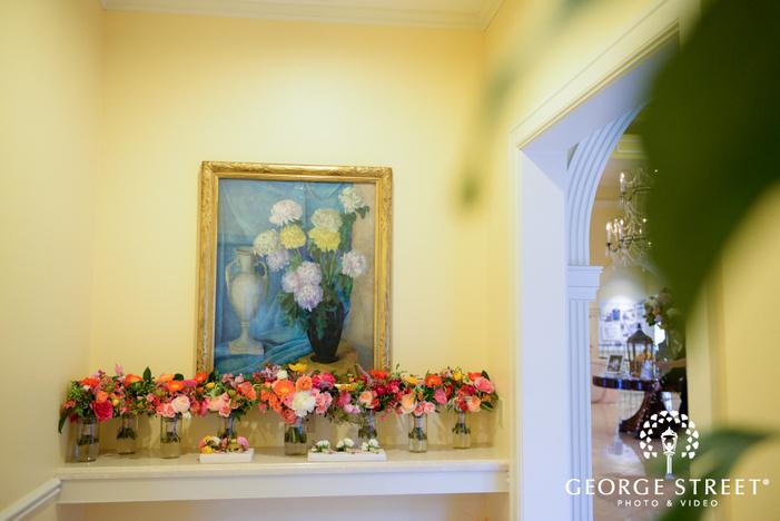 wedding reception bouquets as decor