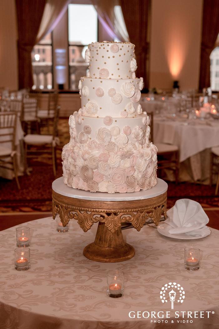 elegant four tier white wedding cake wedding photo