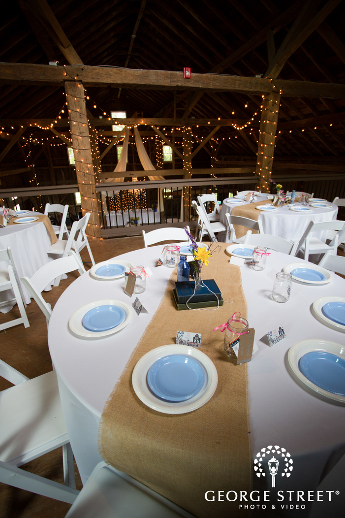 Blue and White Plates at Reception