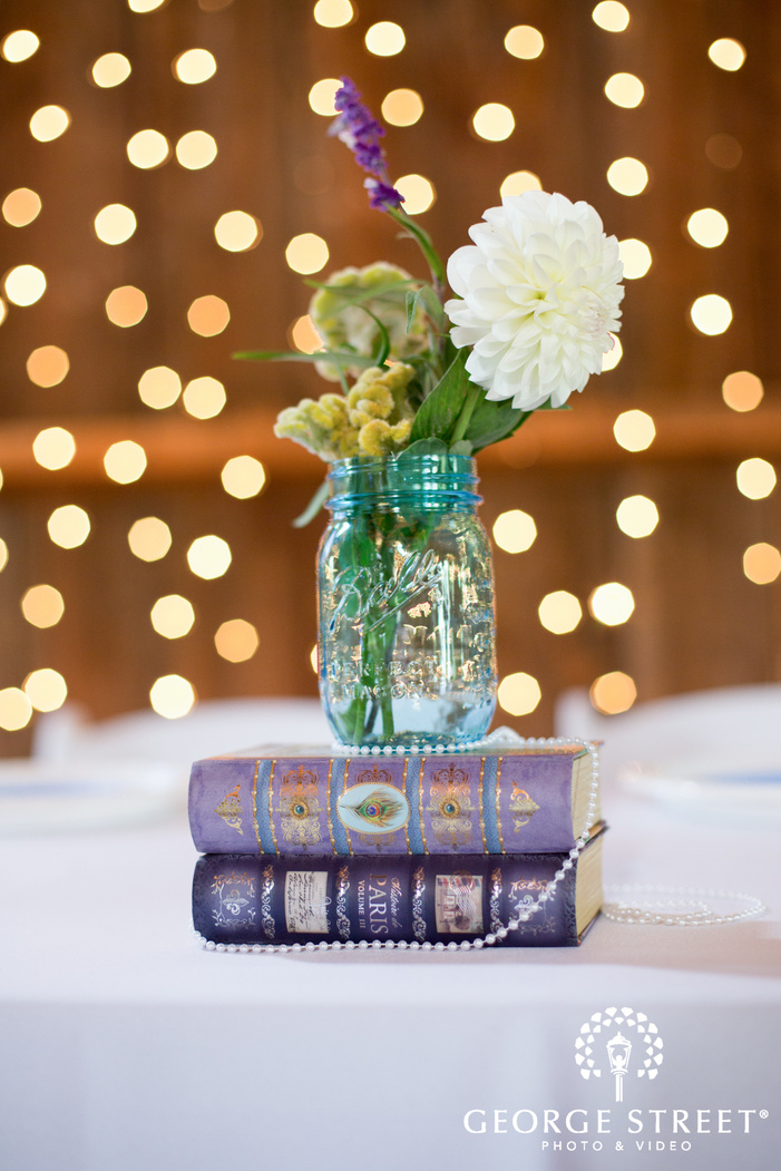 Flowers on Books for Centerpiece