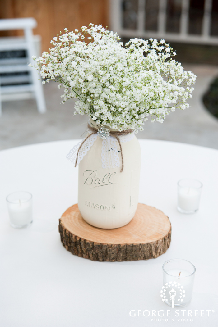 Painted Mason Jar with Baby s Breath