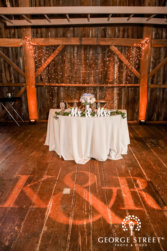 sweetheart table with mr and mrs signs glassware and a multicolor bouquet infront of a wooden wall with fairy lights wedding reception