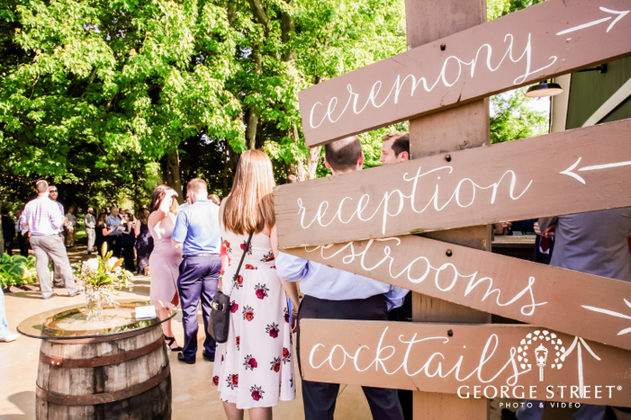 wooden sign board showcasing different sections of the wedding venue at mustard seed gardens indianapolis