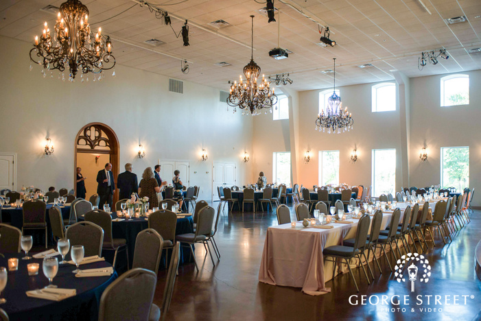 classy reception hall setting wedding photo