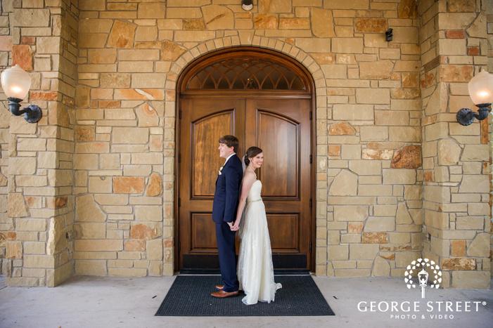 pretty bride and groom at villa st  clair in austin