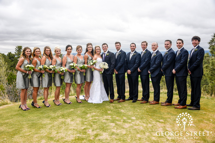 beautiful bridesmaids and classy groomsmen in green lawn sanctuary golf wedding photography