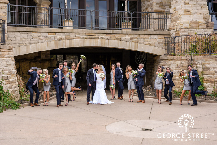 cheerful couple and group at under pass wedding photography