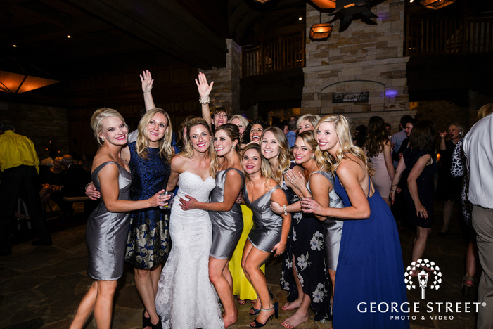 cheerful guests at wedding reception wedding photo