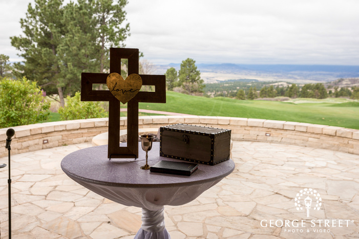 cute wedding ceremony altar detail at sanctuary golf course in denver