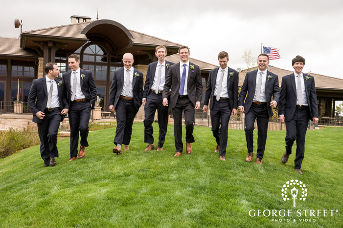 joyous groom and groomsmen at sanctuary golf course in denver wedding photography