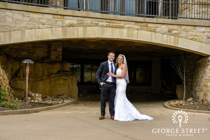 loving couple under the tunnel wedding photography