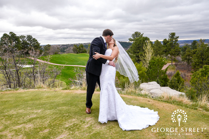 romantic bride and groom at serene hill top in denver wedding photography