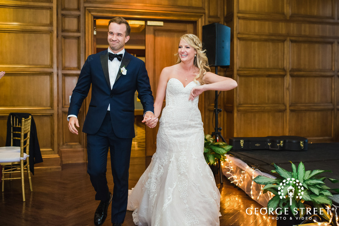cheerful bride and groom reception entrance at cityplace events dallas fort worth