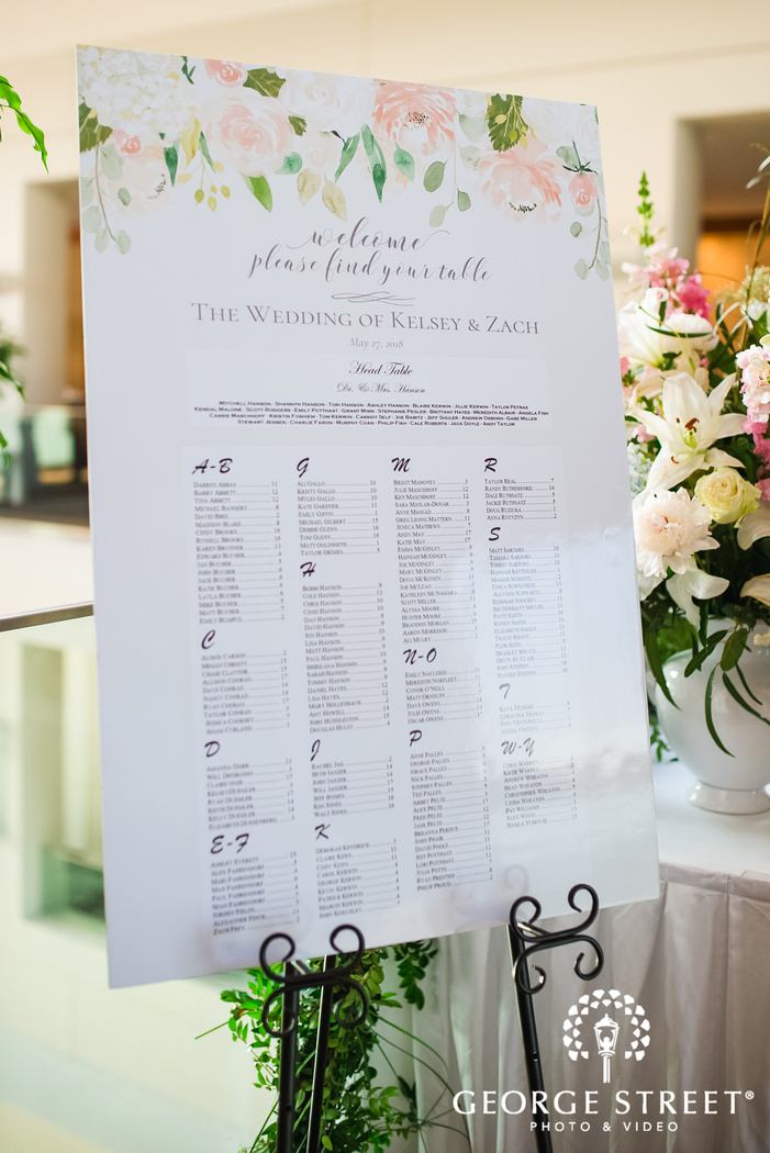 classy guests seating plan chart wedding photo