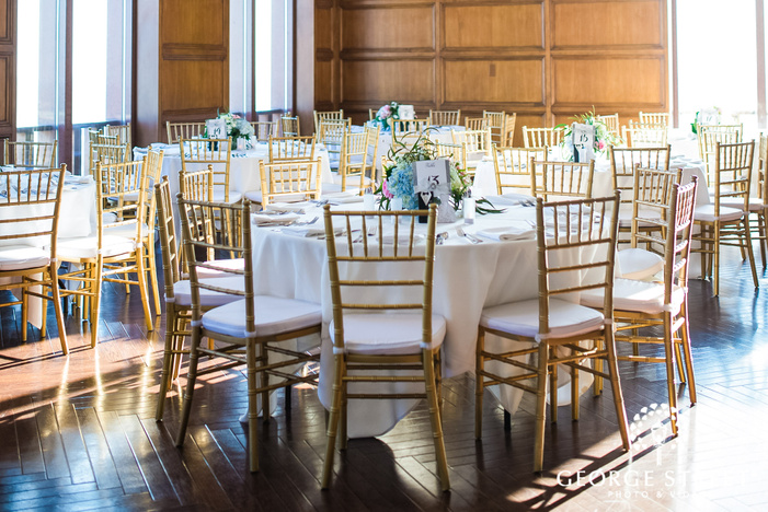 elegant reception hall setting details wedding photo