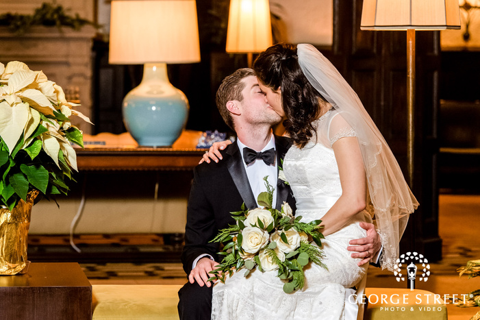 adorable bride and groom in lobby wedding photography