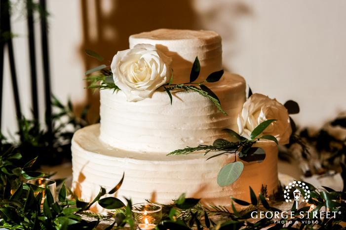 classic three tier white flower wedding cake wedding photo