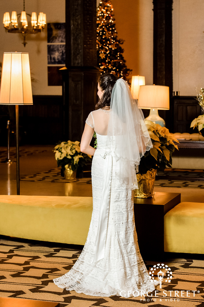 gorgeous bride posing in the lobby wedding photography