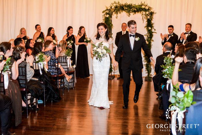 happy bride and groom ceremony exit at alden castle in boston