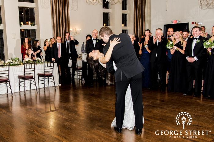 loving bride and groom first dance wedding photos