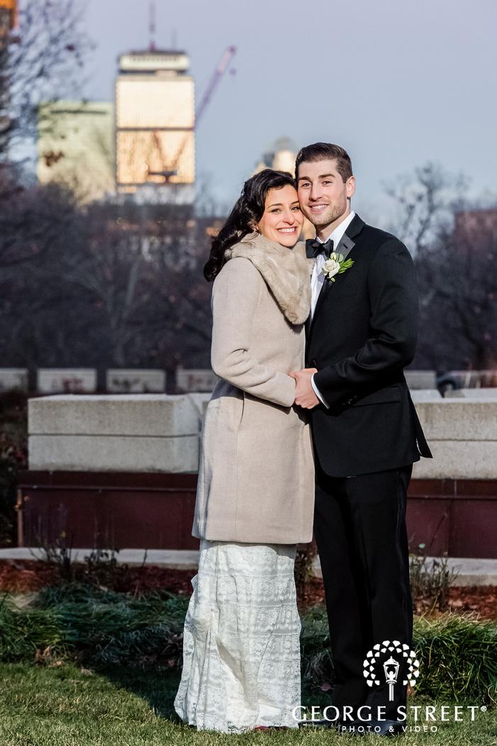 loving bride and groom in garden wedding photography