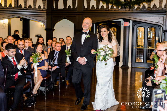 pretty bride and father walking down the aisle wedding photos