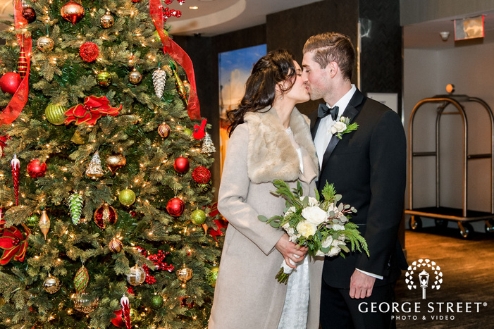 romantic bride and groom in hotel lobby wedding photography