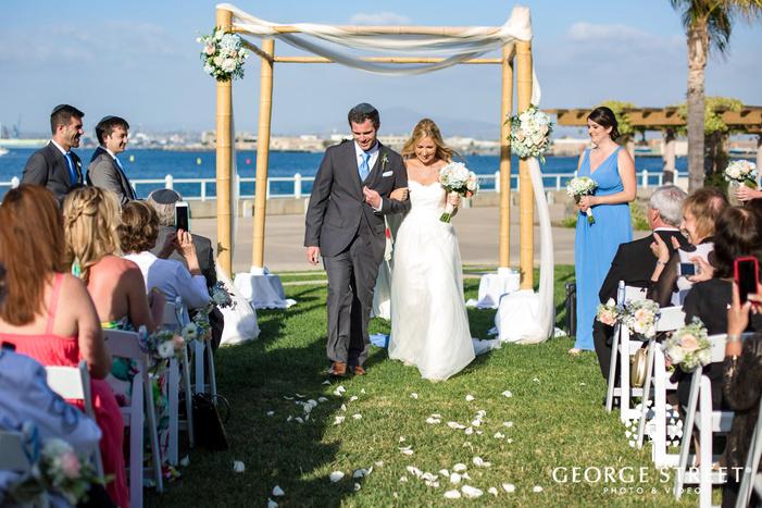 bride and groom ceremony exit coronado community center san diego wedding photos
